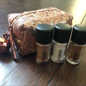 MAC glitter eyeshadow set and bag